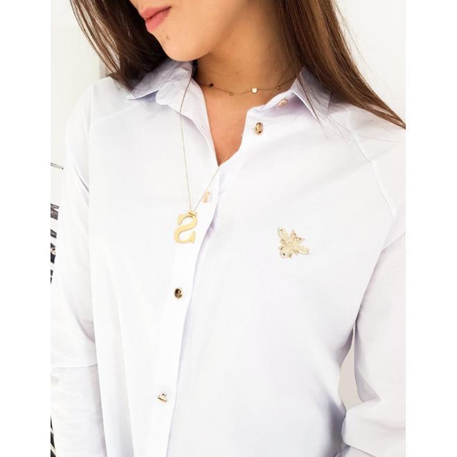 Dámská asymetrická košile se zlatou aplikací v bílé barvě