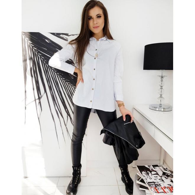 Bílá asymetrická košile s lemem na zádech pro dámy
