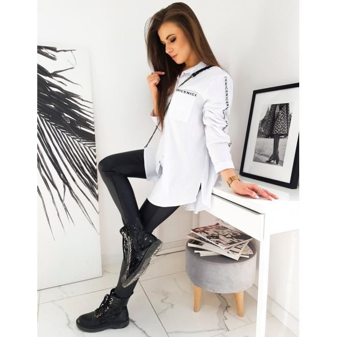 Asymetrická dámská košile bílé barvy s pásy na rukávech
