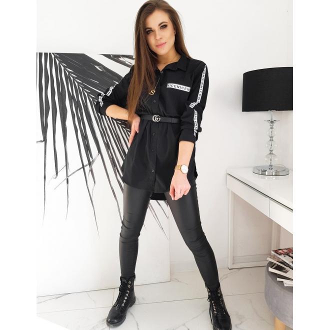 Dámská asymetrická košile s pásy na rukávech v černé barvě