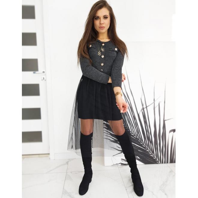 Dámské stylové šaty s ozdobnými knoflíky v tmavě šedé barvě