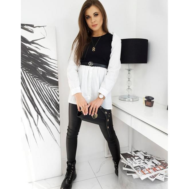 Dámské košilové šaty s nafouklými rukávy v černé barvě