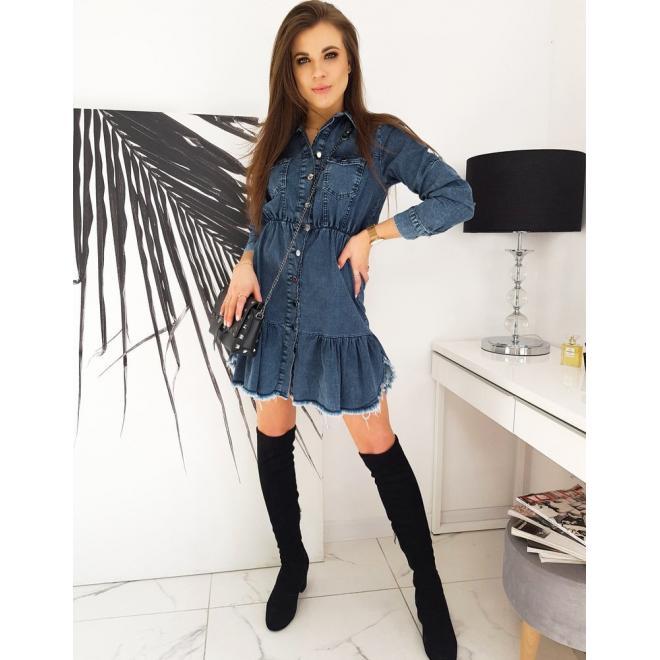 Riflové dámské šaty modré barvy zapínané na knoflíky