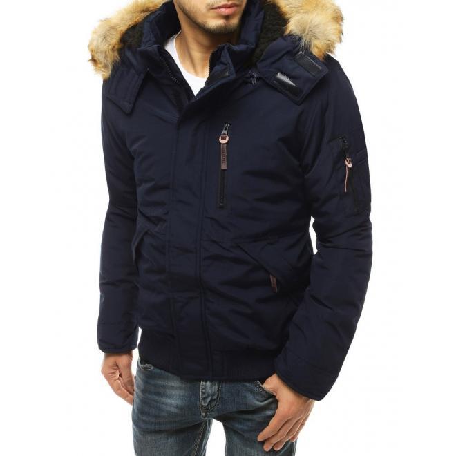 Tmavě modrá zimní bunda s odepínací kapucí pro pány