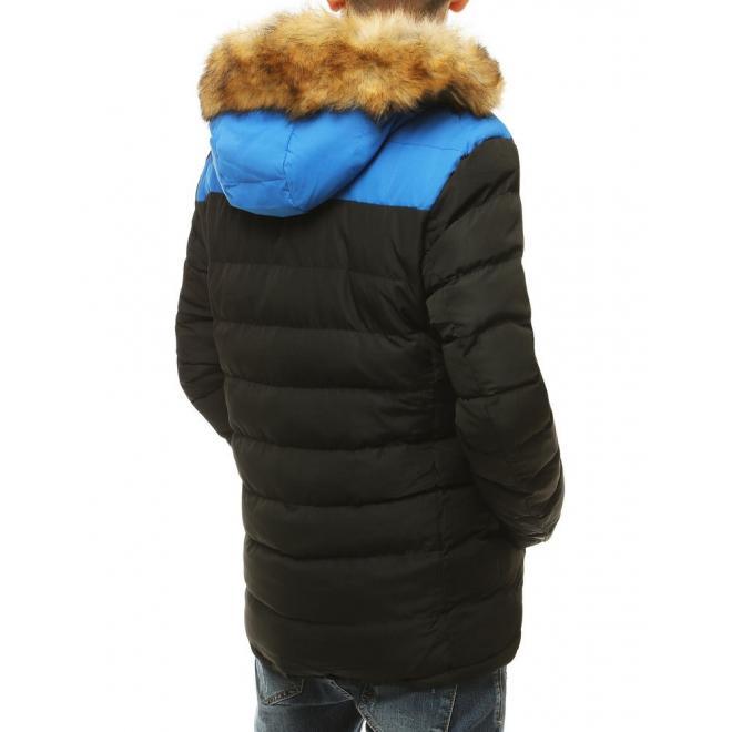 Prošívaná pánská bunda černé barvy na zimu