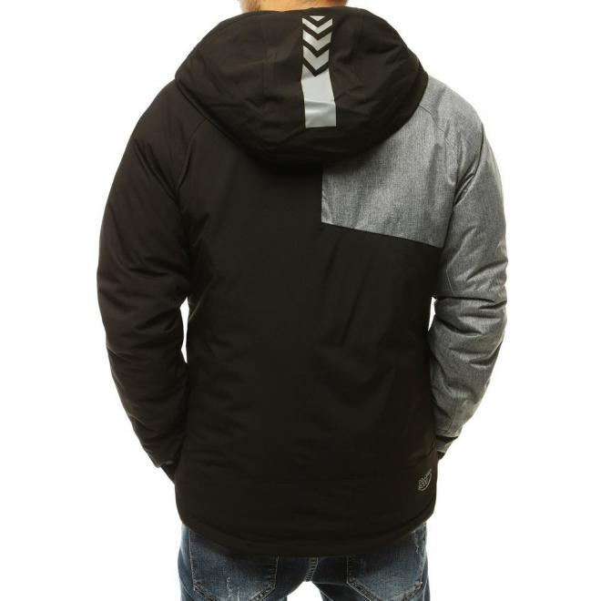 Pánské zimní bundy s reflexními prvky v černé barvě