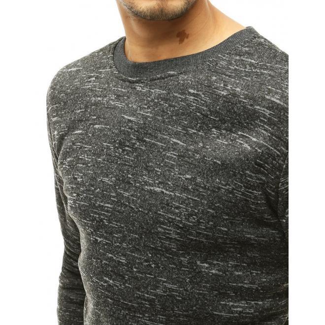Melanžová pánská mikina tmavě šedé barvy bez kapuce