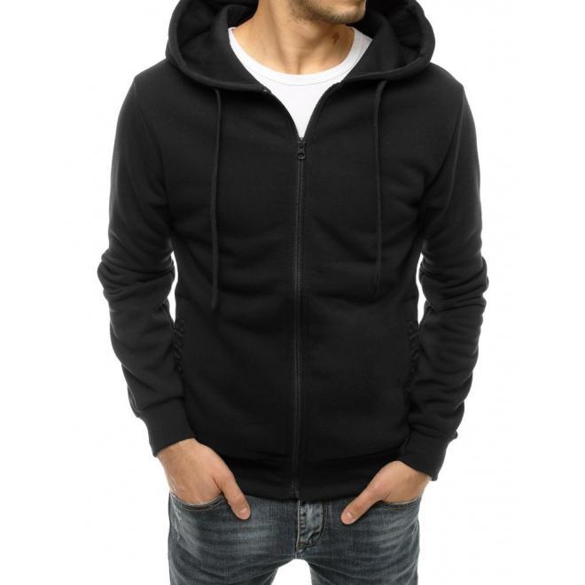 Klasická pánská mikina černé barvy s kapucí