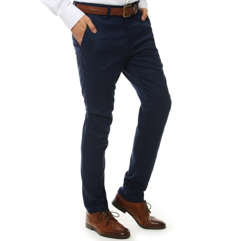 Tmavě modré elegantní kalhoty se vzorem pro pány