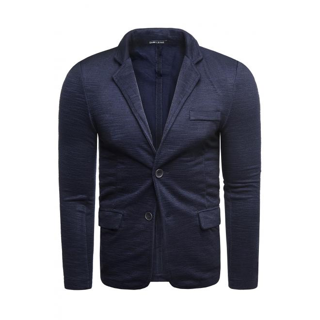 Pánské neformální sako s knoflíky v tmavě modré barvě