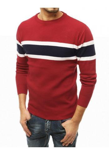 Módní pánský svetr bordové barvy s pruhy