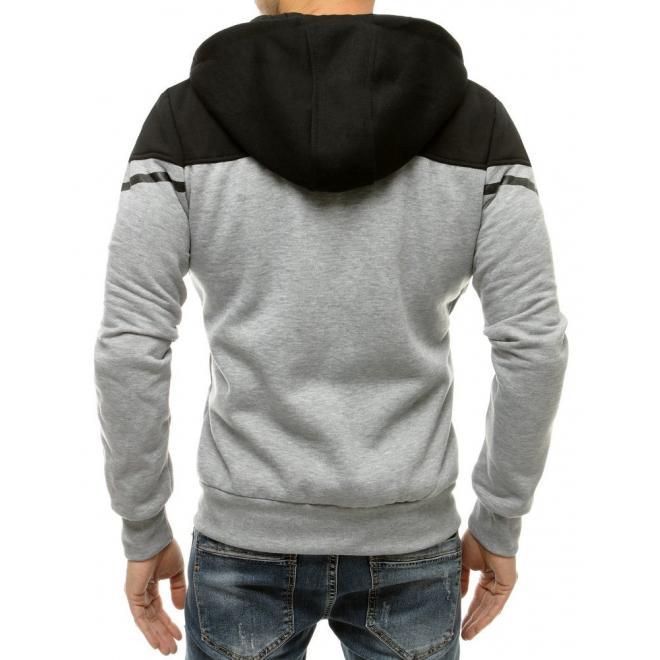 Klasické pánské mikiny černo-šedé barvy s kapucí