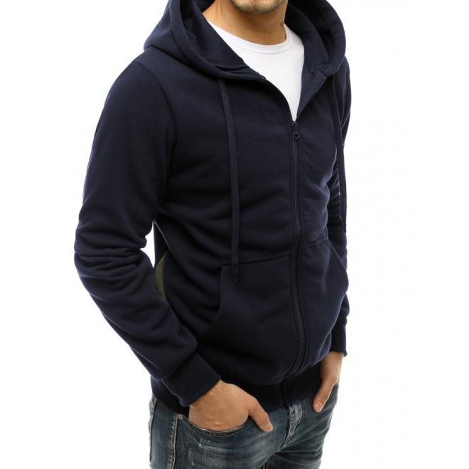 Zapínaná pánská mikina tmavě modré barvy s kapucí