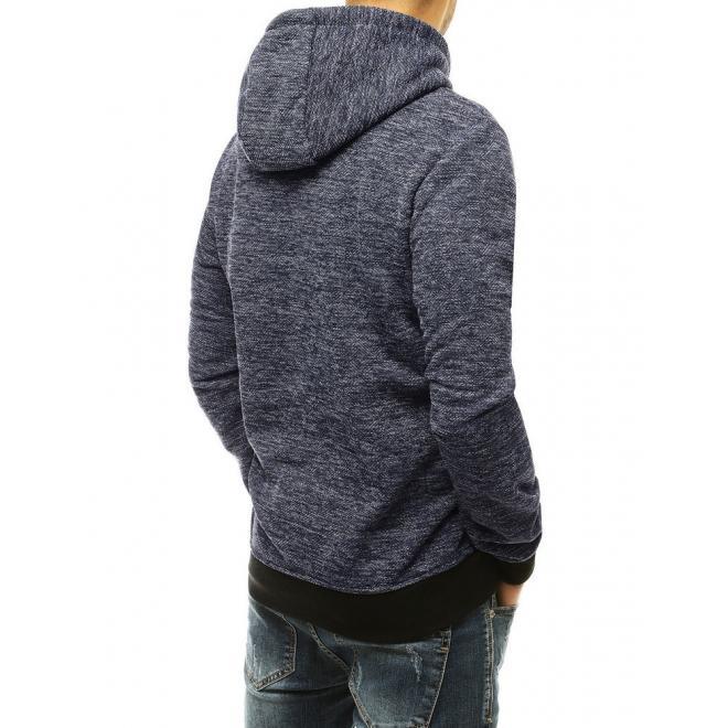 Pánská stylová mikina s kontrastními vložkami v tmavě modré barvě