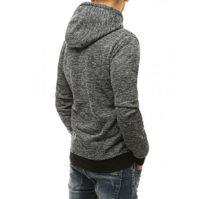 Stylová pánská mikina šedé barvy s kontrastními vložkami