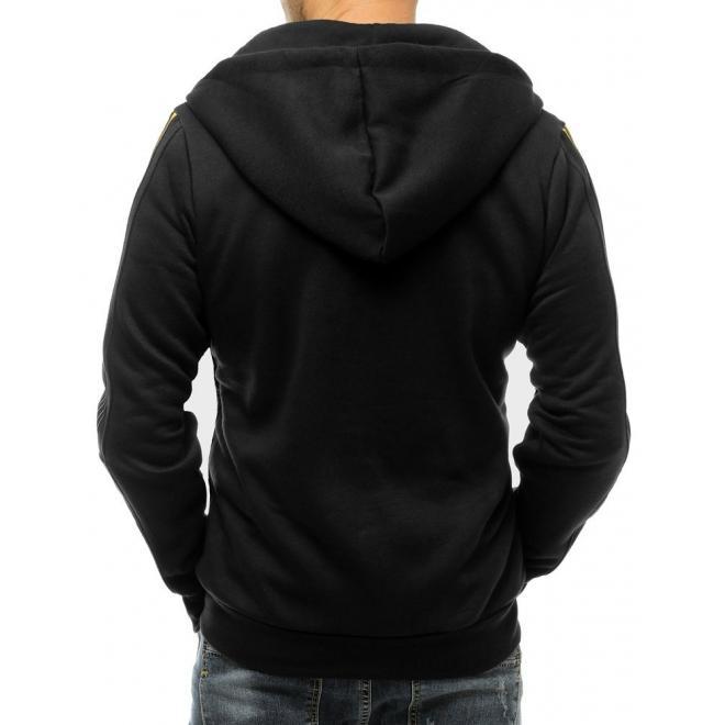 Pánská módní mikina se sluchátky v černé barvě