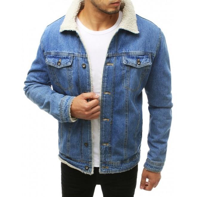 Pánská riflová bunda s kožešinou v světle modré barvě