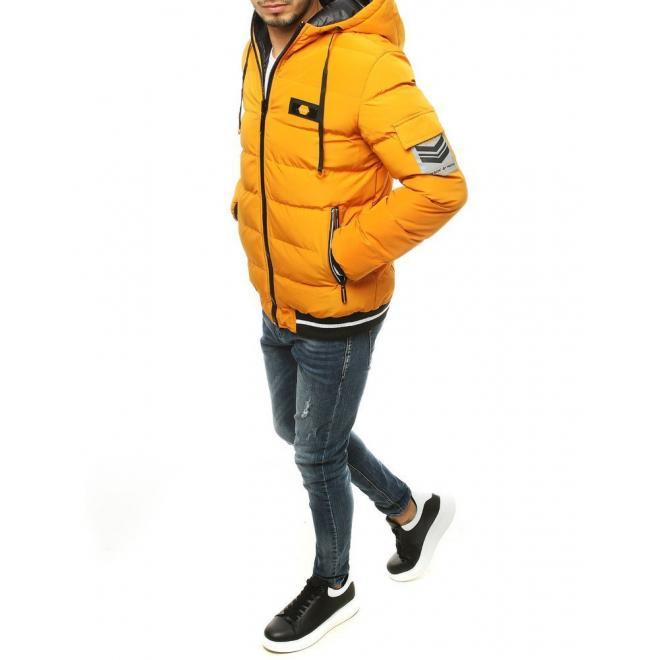Pánská oboustranná bunda s kapucí ve žluté barvě