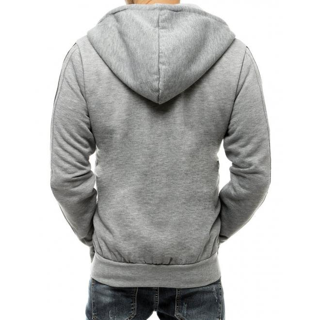 Módní pánská mikina světle šedé barvy se sluchátky