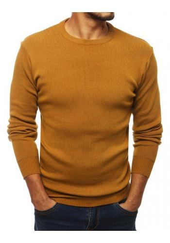 Pánský klasický svetr s kulatým výstřihem ve světle hnědé barvě