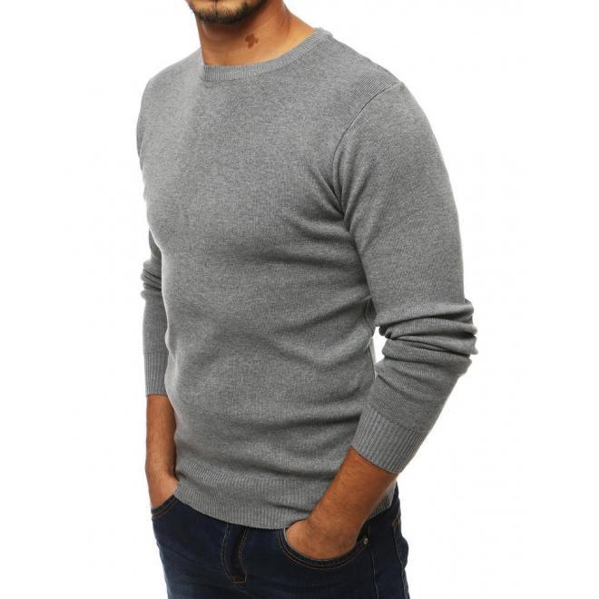 Klasický pánský svetr světle šedé barvy s kulatým výstřihem
