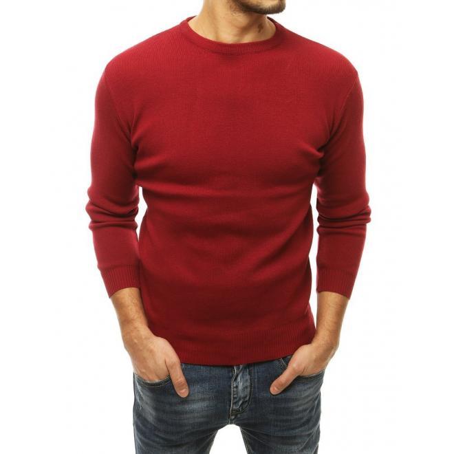 Pánský klasický svetr s kulatým výstřihem v bordové barvě