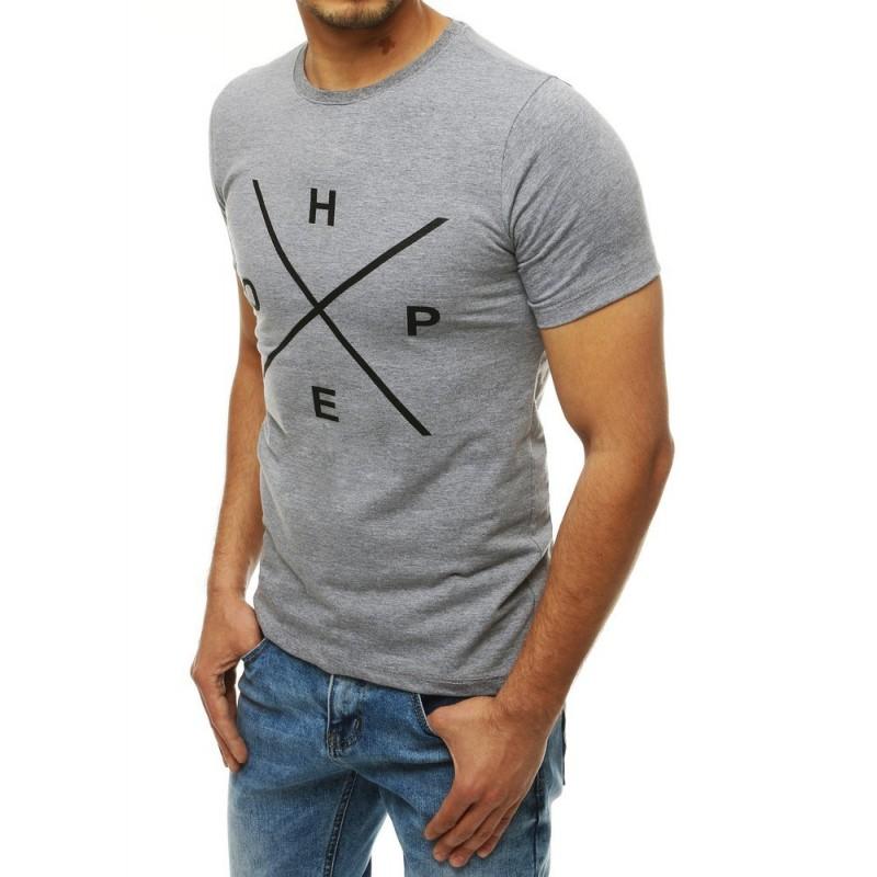 Světle šedé stylové tričko s potiskem pro pány