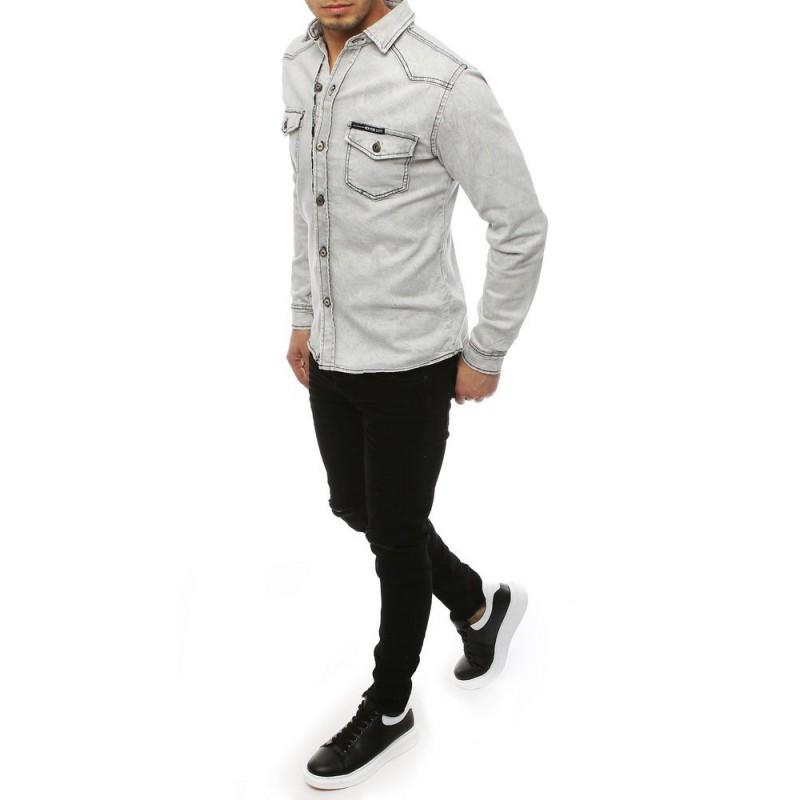 Riflová pánská košile světle šedé barvy s kapsami na hrudi