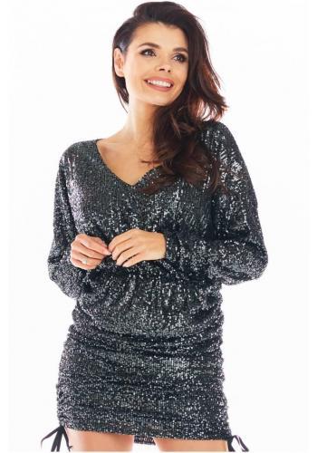 Tmavě šedé elegantní flitrované šaty s nastavitelnou délkou pro dámy