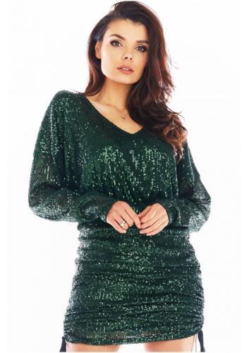 Elegantní dámské flitrové šaty zelené barvy s nastavitelnou délkou