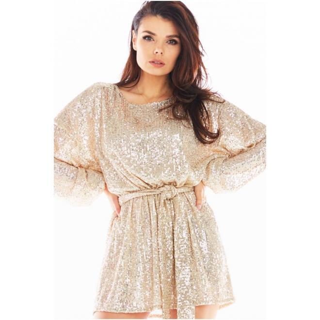 Flitrové dámské šaty béžové barvy se širokými rukávy