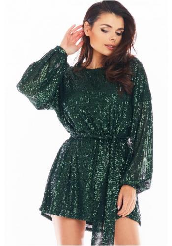 Dámské flitrové šaty se širokými rukávy v zelené barvě