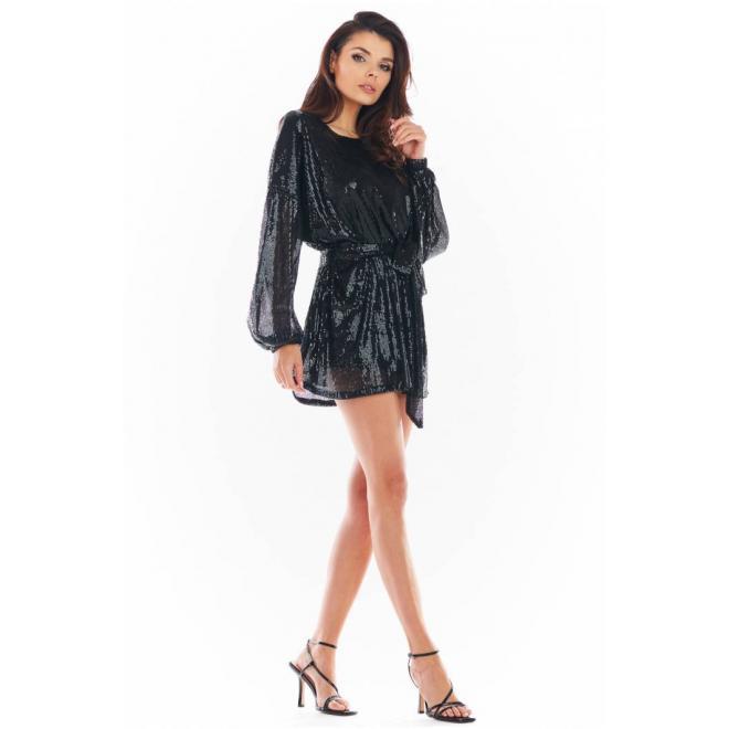 Flitrové dámské šaty černé barvy se širokými rukávy