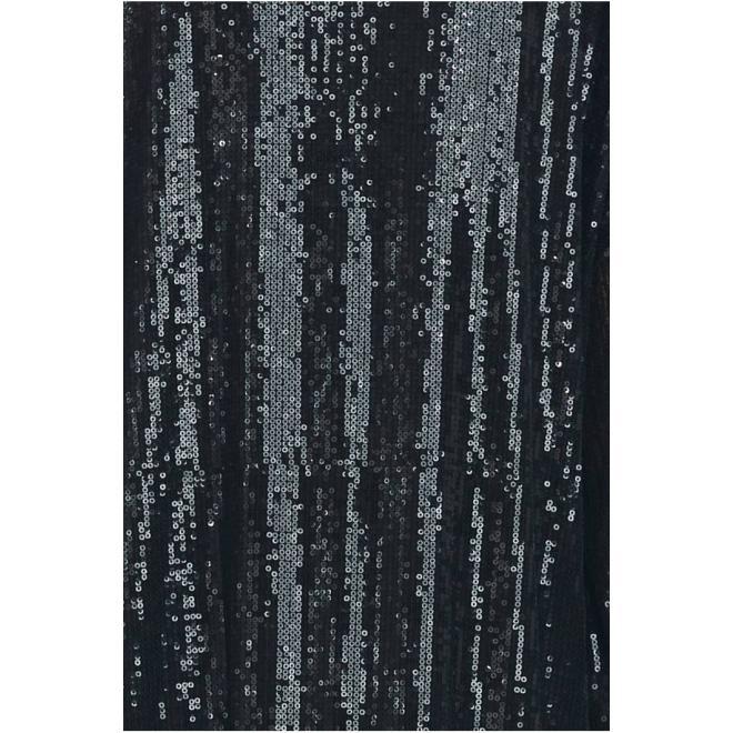 Černé midi flitrové šaty s obálkovým výstřihem pro dámy
