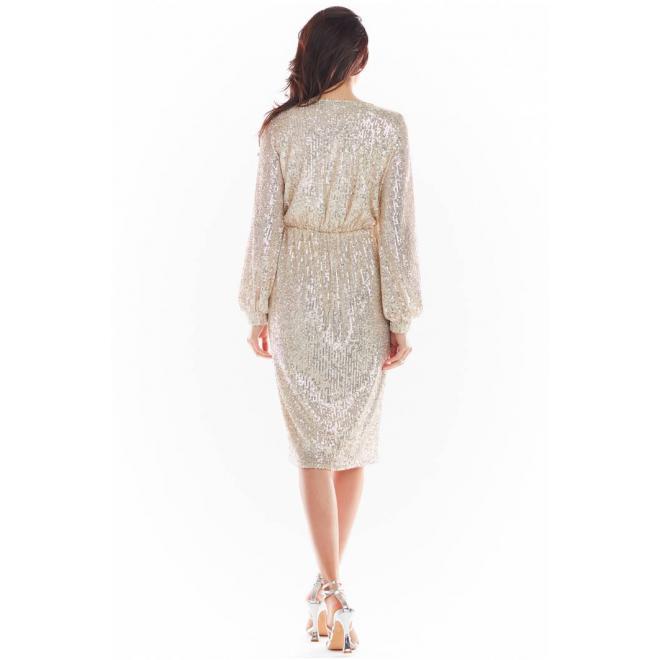 Midi dámské flitrové šaty béžové barvy s obálkovým výstřihem