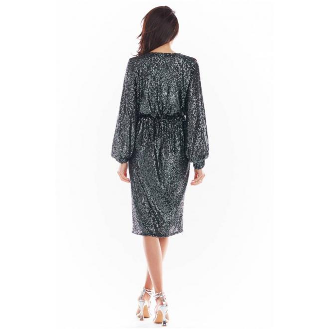 Dámské midi flitrové šaty s obálkovým výstřihem v tmavě šedé barvě