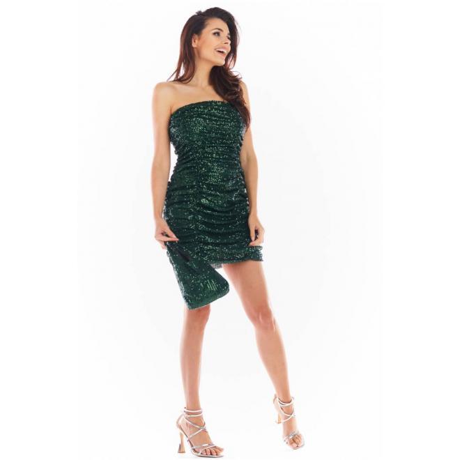 Zelené mini šaty s flitry pro dámy