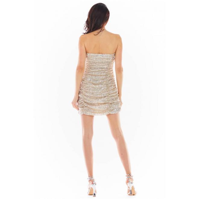 Dámské mini šaty s flitry v béžové barvě