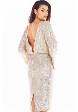 Flitrové dámské šaty béžové barvy s odhalenými zády