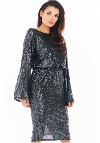 Dámské flitrové šaty s odhalenými zády v tmavě šedé barvě