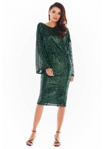 Zelené flitrové šaty s odhalenými zády pro dámy