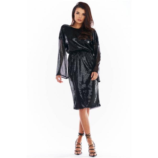 Flitrové dámské šaty černé barvy s odhalenými zády