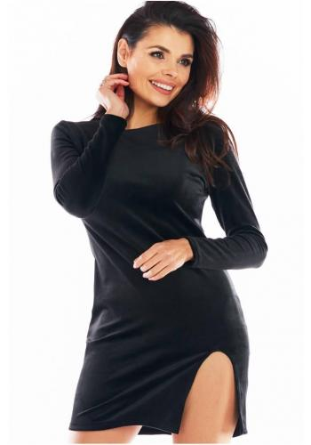 Velurové dámské mini šaty černé barvy s dlouhým rukávem