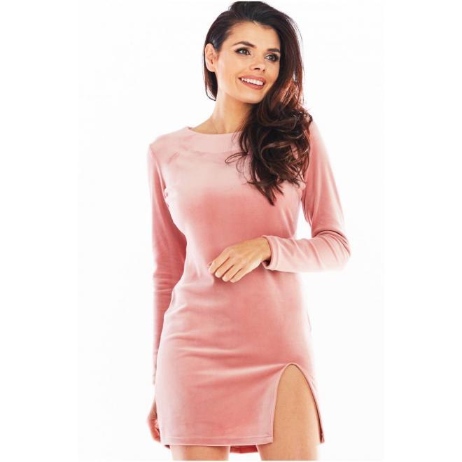 Růžové velurové mini šaty s dlouhým rukávem pro dámy