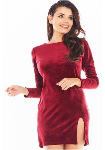 Dámské velurové mini šaty s dlouhým rukávem v bordové barvě