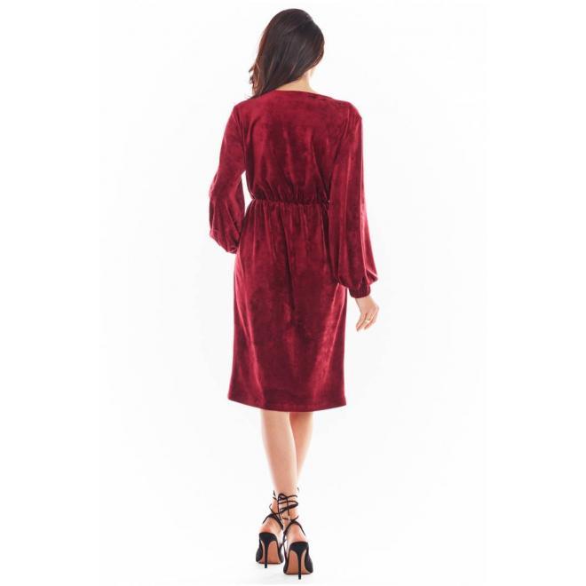 Dámské velurové šaty s obálkovým výstřihem v bordové barvě