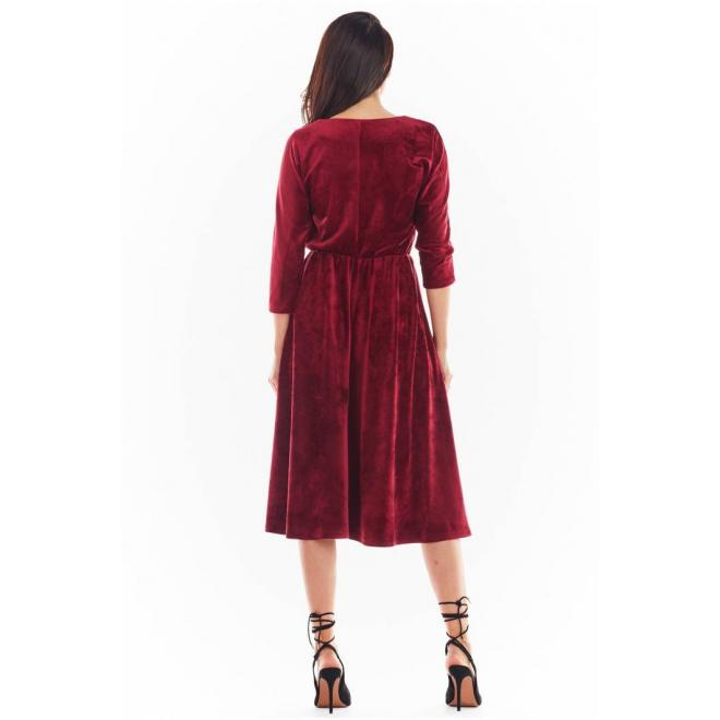 Bordové velurové midi šaty s 3/4 rukávem pro dámy
