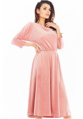 Dámské velurové midi šaty s 3/4 rukávem v růžové barvě