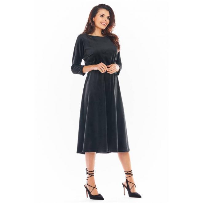 Černé velurové midi šaty s 3/4 rukávem pro dámy