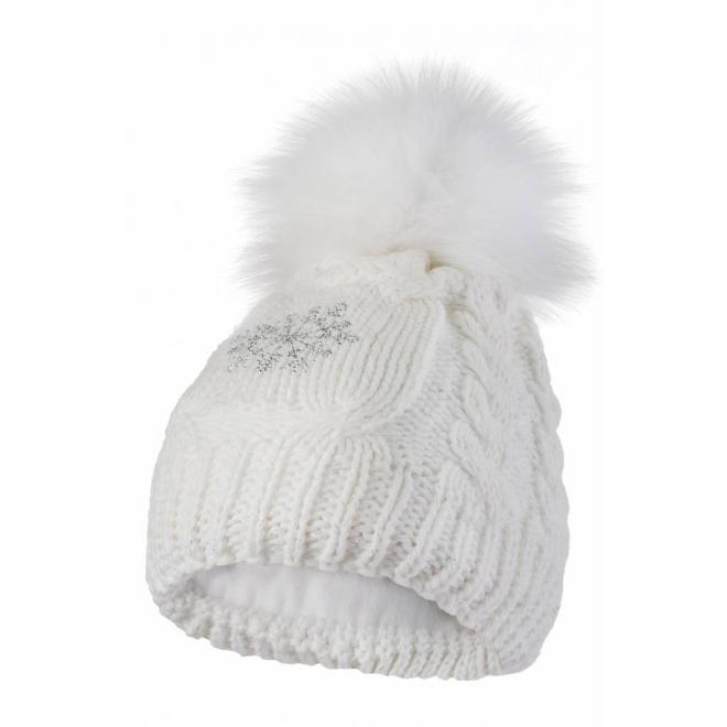 Dámská vlněná čepice s pomponem v bílé barvě